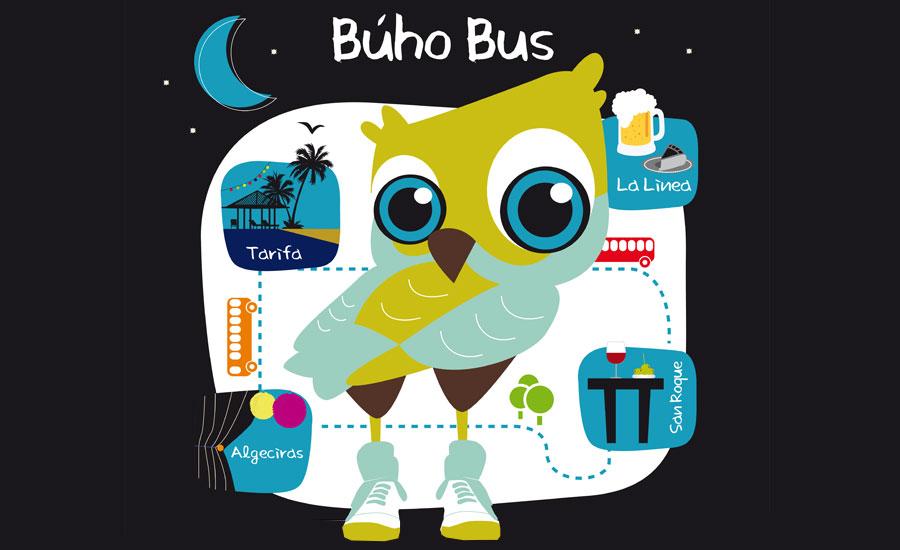 diseño-gráfico ilustración - Búho Bus Algeciras